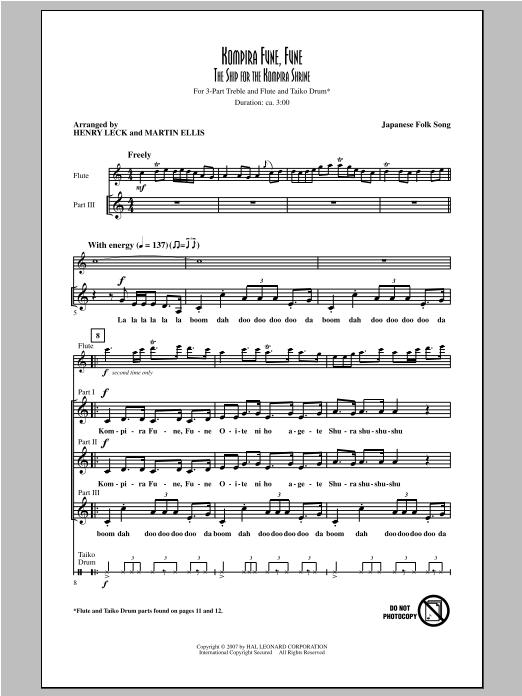 Partition chorale Kompira Fune, Fune (The Ship For The Kompira Shrine) de Henry Leck - 3 voix egales
