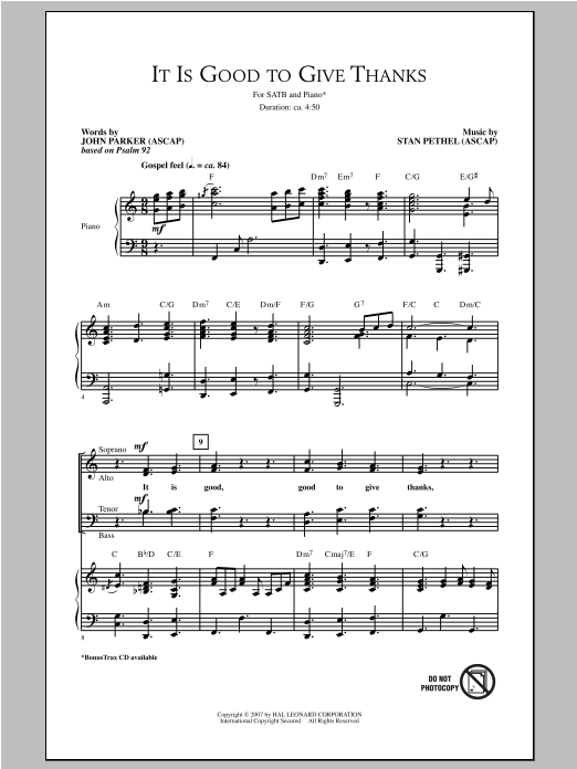 It Is Good To Give Thanks Sheet Music