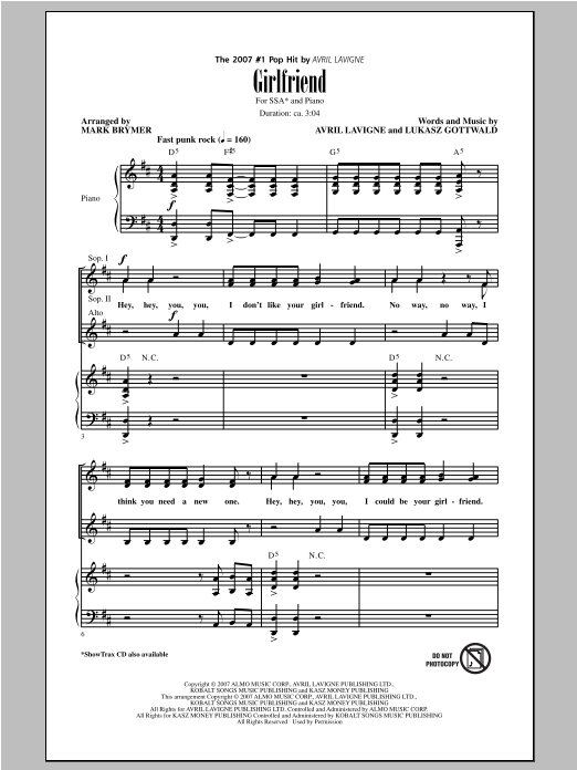 Girlfriend (arr. Mark Brymer) Sheet Music