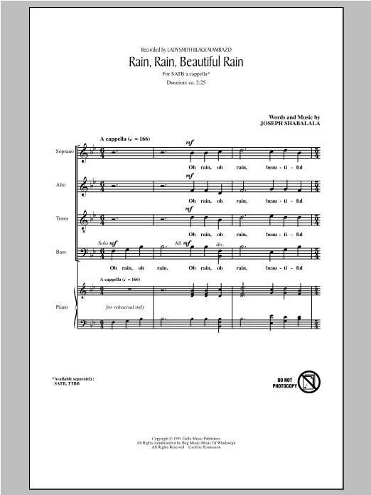 Rain, Rain, Beautiful Rain (SATB Choir)