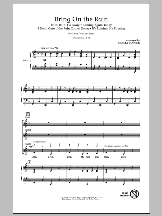 Bring On The Rain (Medley) Sheet Music