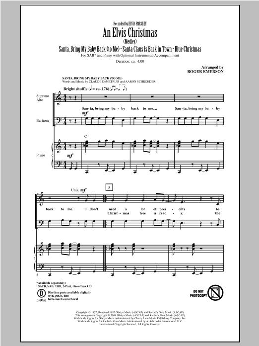 An Elvis Christmas (arr. Roger Emerson) (SAB Choir)