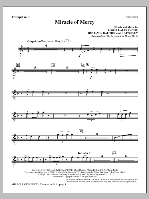 Miracle of Mercy - Bb Trumpet 1 Sheet Music