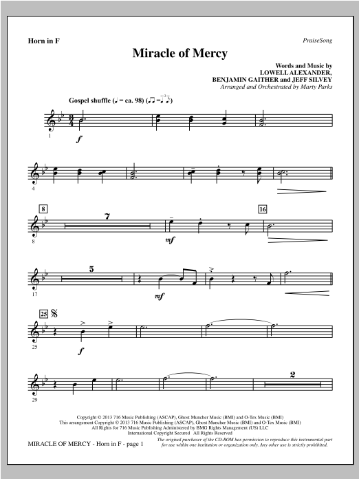 Miracle of Mercy - F Horn Sheet Music
