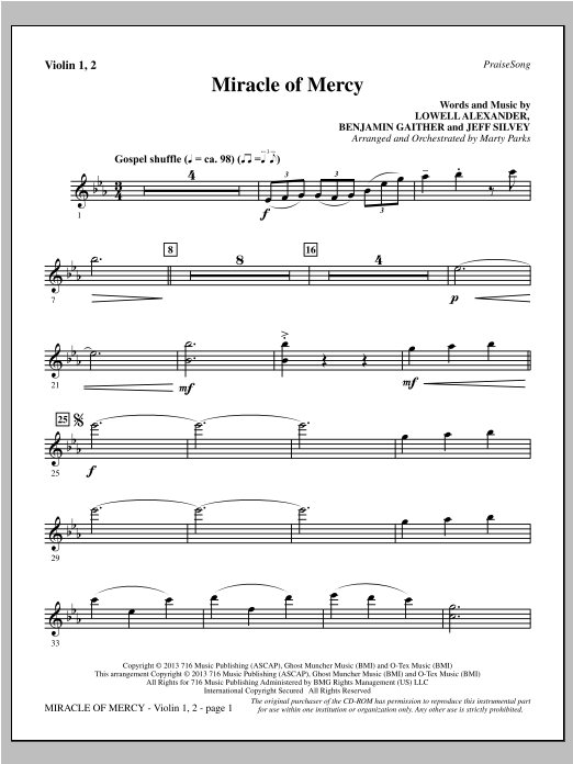 Miracle of Mercy - Violin 1, 2 Sheet Music