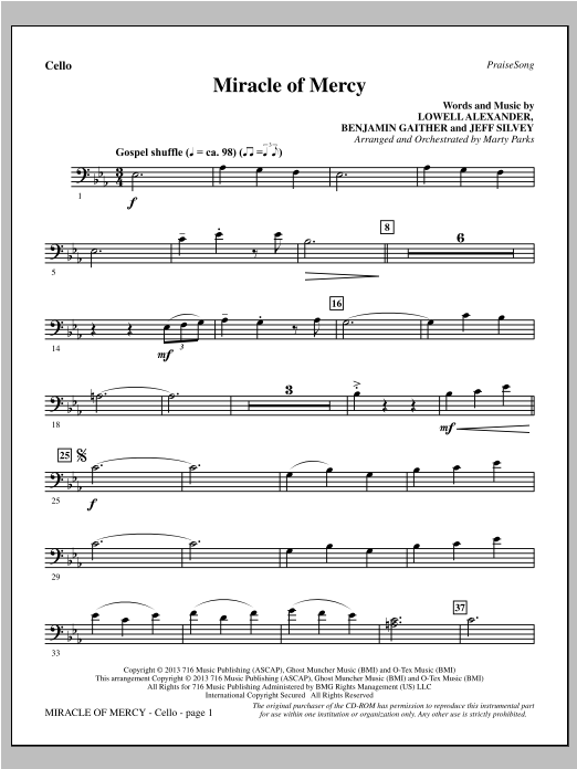 Miracle of Mercy - Cello (Choir Instrumental Pak)