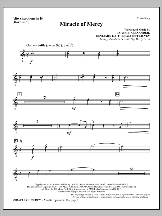 Miracle of Mercy - Alto Sax (sub. Horn) Sheet Music
