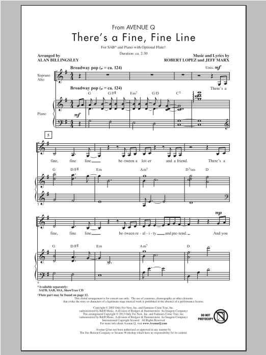 There's A Fine, Fine Line (arr. Alan Billingsley) Sheet Music