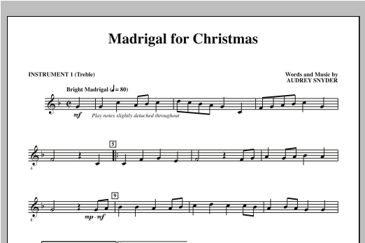 Madrigal for Christmas (complete set of parts) sheet music for orchestra/band by Audrey Snyder. Score Image Preview.