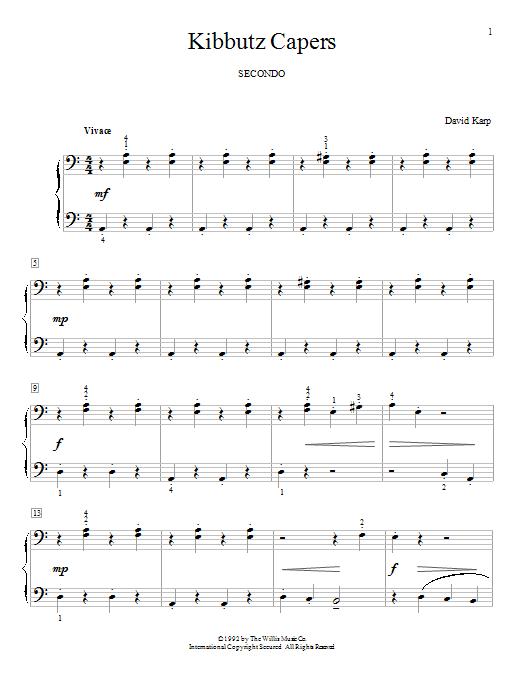 Partition piano Kibbutz Capers de David Karp - 4 mains
