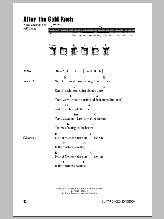 After The Gold Rush Sheet Music