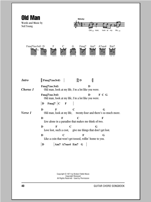 Old Man by Neil Young - Guitar Chords/Lyrics - Guitar Instructor