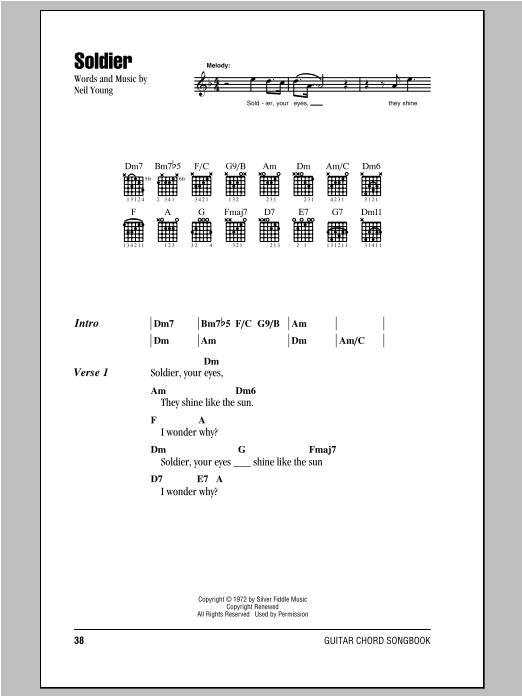 Soldier sheet music by Neil Young (Lyrics & Chords – 98078)