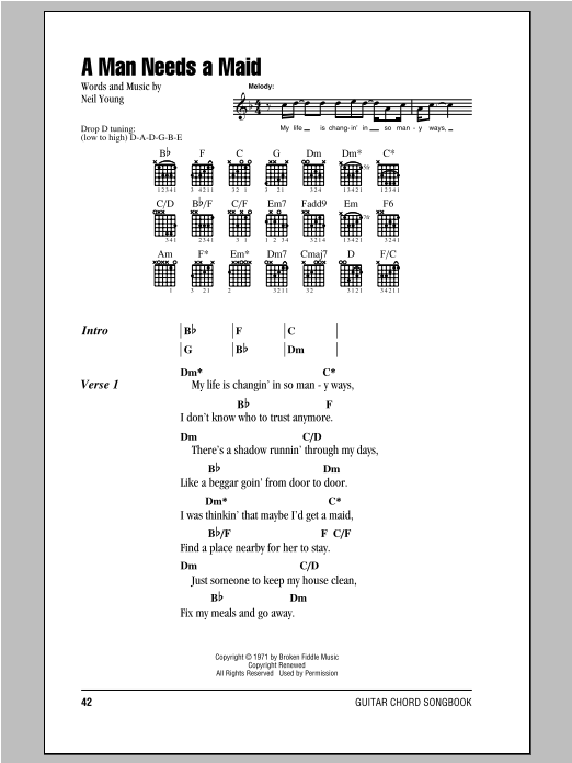 A Man Needs A Maid by Neil Young - Guitar Chords/Lyrics - Guitar ...
