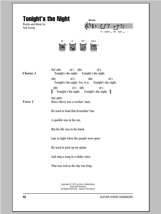 Tonight\'s The Night by Neil Young - Guitar Chords/Lyrics - Guitar ...