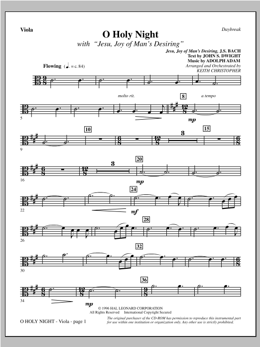 "O Holy Night (with ""Jesu, Joy of Man's Desiring"") - Viola (Choir Instrumental Pak)"