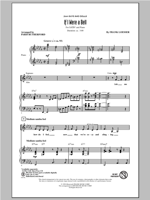 If I Were A Bell (arr. Paris Rutherford) Sheet Music