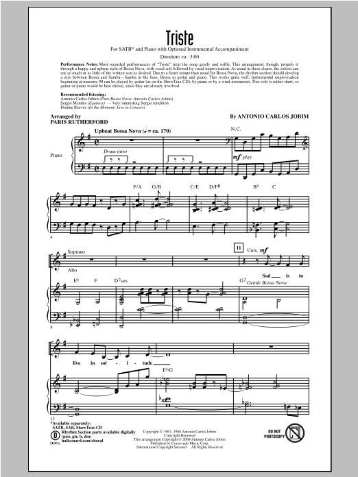 Partition chorale Triste de Antonio Carlos Jobim - SATB