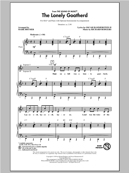 The Lonely Goatherd (from The Sound of Music) (arr. Mark Brymer) Sheet Music