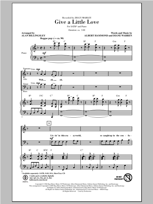 Give A Little Love (arr. Alan Billingsley) (SATB Choir)
