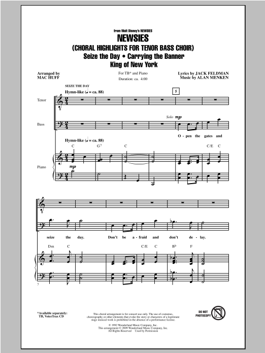 Newsies (Choral Highlights) Sheet Music