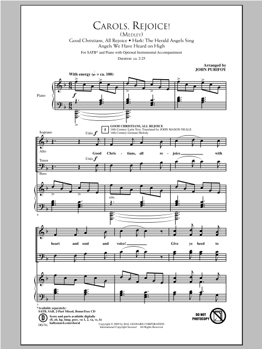 Carols, Rejoice (Medley) Sheet Music