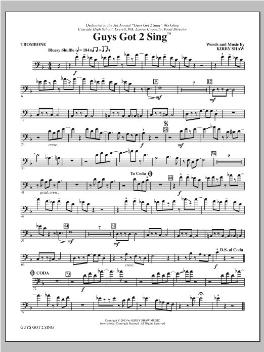 Guys Got 2 Sing - Trombone Sheet Music