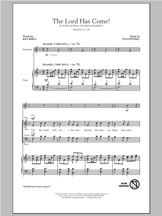 Partition chorale The Lord Has Come! de Ken Bible - SATB