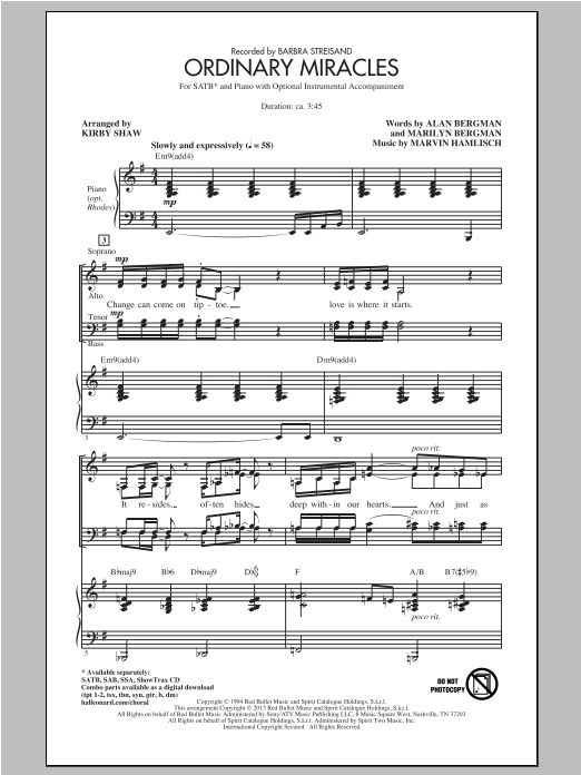 Ordinary Miracles (arr. Kirby Shaw) Sheet Music