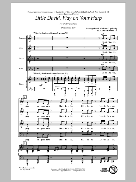 Partition chorale Little David, Play On Your Harp de Rollo Dilworth - SATB