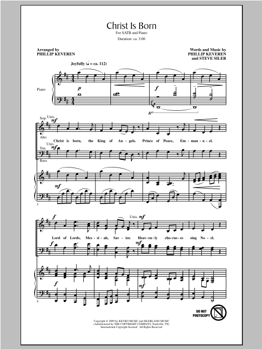Partition chorale Christ Is Born de Phillip Keveren - SATB