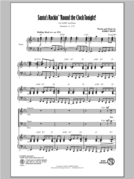Partition chorale Santa's Rockin' 'Round The Clock Tonight! de Kirby Shaw - SATB