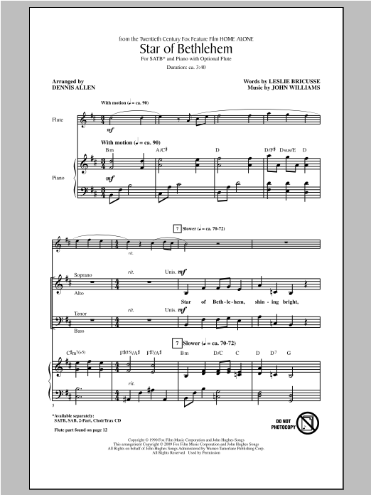 Partition chorale Star Of Bethlehem de John Williams - SATB