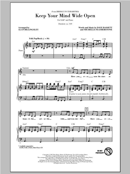 Partition chorale Keep Your Mind Wide Open de Alan Billingsley - SAB