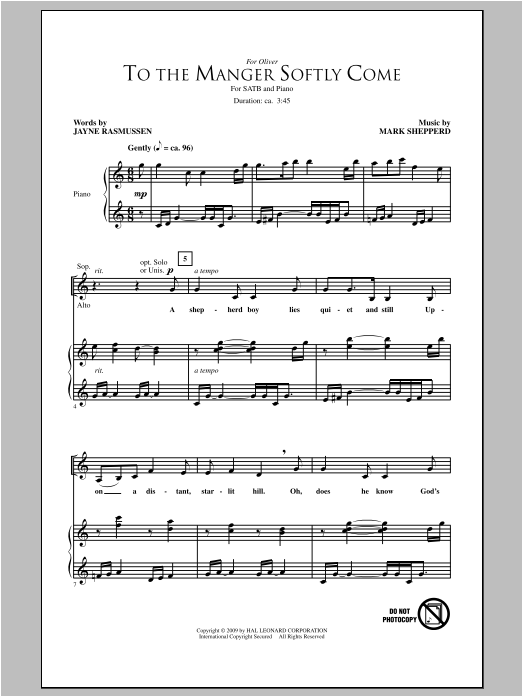 To The Manger Softly Come Sheet Music