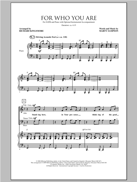 For Who You Are Sheet Music