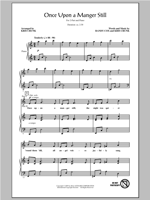 Once Upon A Manger Still (arr. Kris Crunk) Sheet Music
