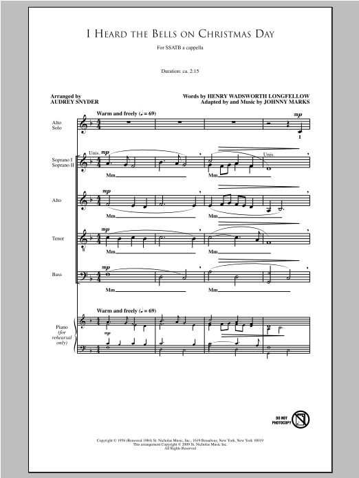 I Heard The Bells On Christmas Day (SATB Choir)