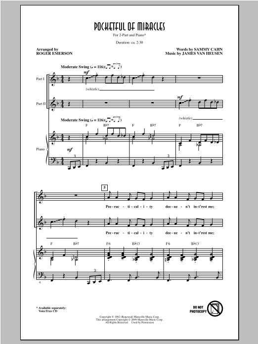 Pocketful Of Miracles (2-Part Choir)
