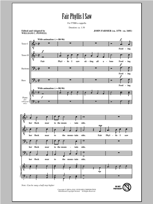 Fair Phyllis I Saw (arr. William C. Powell) Sheet Music