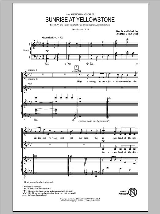 Sunrise At Yellowstone  (from American Landscapes) Sheet Music