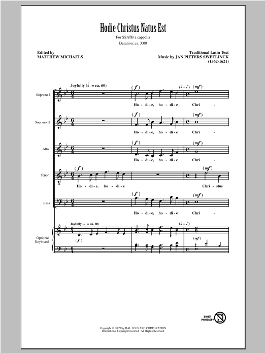 Hodie Christus Natus Est (arr. Matthew Michaels) (SATB Choir)