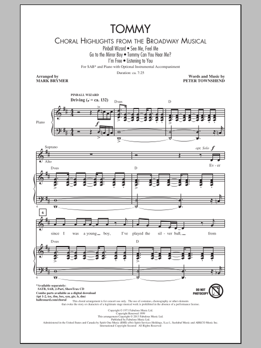 Tommy (Choral Highlights from the Broadway Musical) (arr. Mark Brymer) (SAB Choir)