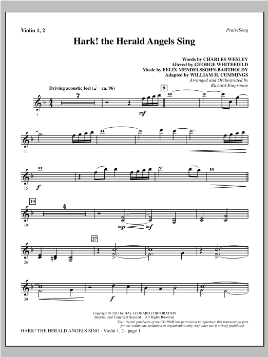 Hark! The Herald Angels Sing - Violin 1, 2 Sheet Music
