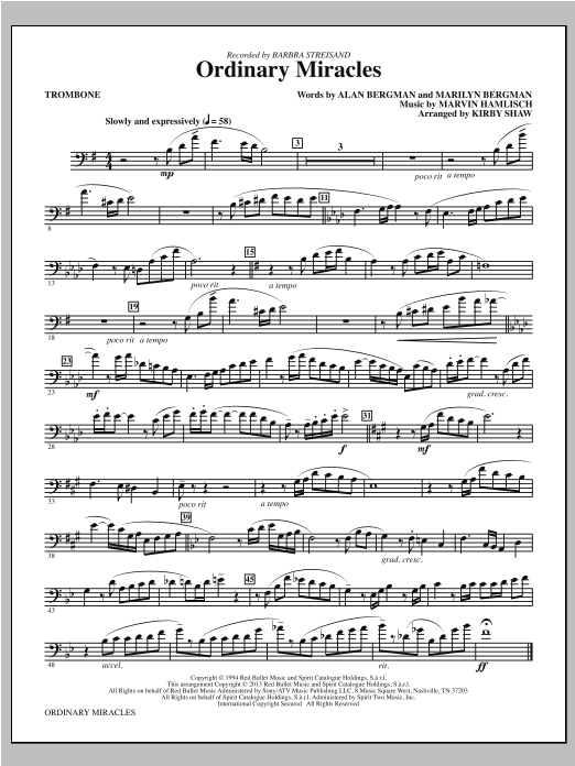 Ordinary Miracles - Trombone Sheet Music