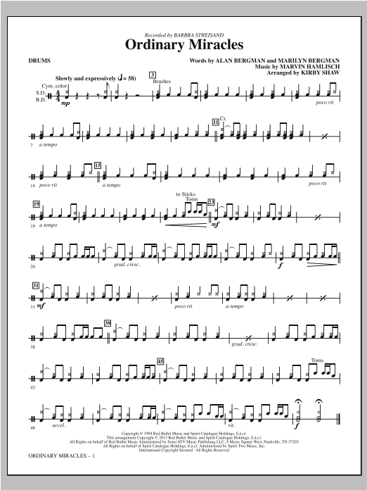 Ordinary Miracles - Drums Sheet Music