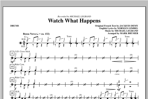 Watch What Happens - Drums Sheet Music