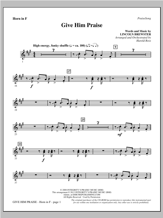 Give Him Praise - F Horn Sheet Music