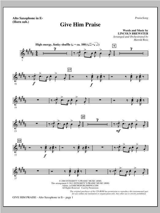 Give Him Praise - Alto Sax (sub. Horn) Sheet Music