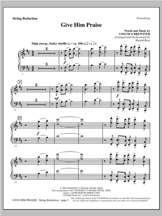 Give Him Praise - Keyboard String Reduction Sheet Music